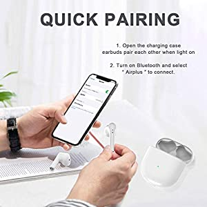 Wireless Headphones Bluetooth 5.0 Earbuds, 3D Stereo Noise Cancelling Headphones Built in Mic Touch Control with Charging Case in-Ear Sport Headsets for Apple Airpods/iPhone/Android/Samsung