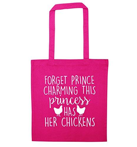 Oubliez le prince charmant sac fourre-tout avec ses poules - Rose - Taille Unique