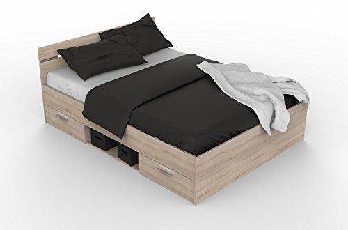 Demeyere 471709 Kompaktbett MICHIGAN 140 x 200 cm mit 1 Nischen und 2 Schubladen, sonoma eiche mit struktur