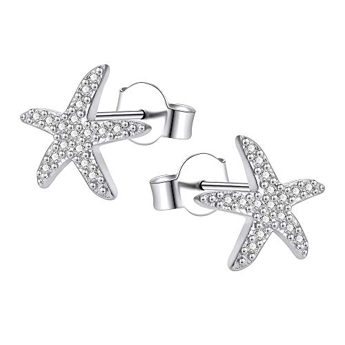 AoedeJ - Pendientes de botón de plata de ley y circonita cúbica con diseño de estrella de mar danzante para mujeres y niñas style 1