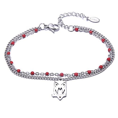 YFZCLYZAXET Pulseras Brazalete Joyería Mujer Pulsera con Hebilla para Mujer, Cadena De Acero Inoxidable, Brazaletes De Corazón, Jewelry-B3305-1