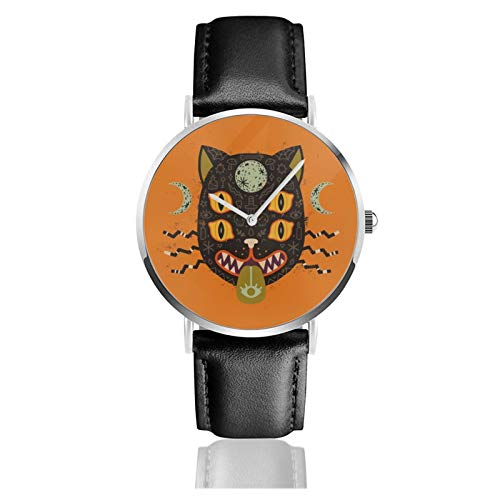 Classic Watch,Spooky Cat Black Leather Strap Wrist Casual Watches