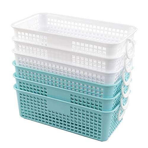 Farmoon Cestas de almacenamiento de escritorio pequeñas, cestas de plástico para armario, paquete de 6