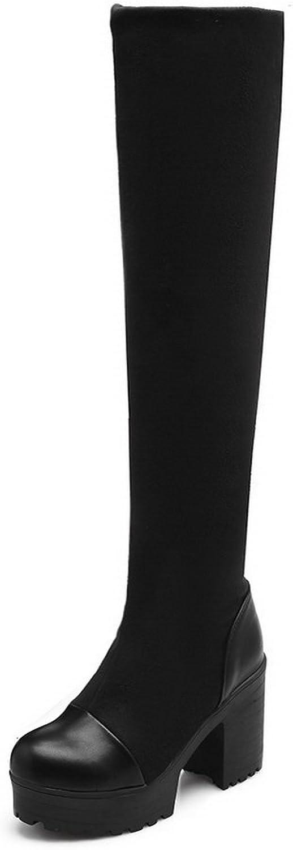 BalaMasa Womens Chunky Heels Platform Foldable Frosted Boots