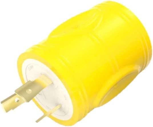 Yellow - F3030AD-RY Furrion 30 Amp Male to 30 Amp Female Power Adapter Plug with 3 Prongs Marine Grade Electrical Converter Plug