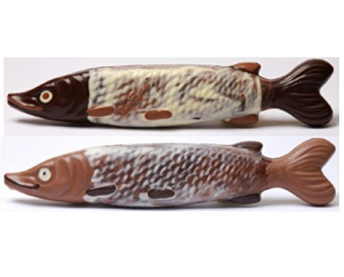 02#122321 Schokoladen Tiere, Fisch, Hecht, VOLLMILCH ODER ZARTBITTER, Angler, Angeln, Geschenk, Schokolade, Aquarium,