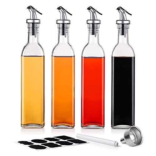 BEYONDA Essig und Öl Spender Set, Ölflasche mit Ausgießer, Olivenöl Dispenser mit Anti-Schmutz Verschluss, Auslaufsicher und Tropffrei für Olivenöl/Essig/Soßen 4 * 500ml