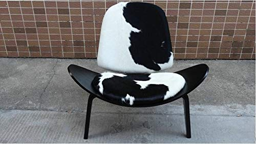 Haus Dekoration Stativ Sperrholz Moderne Lounge Chair Hubholz Polster Wohnzimmer Möbel Moderne Hans Wegner Leder Muschelstuhl Design Sitzplatz (Color : Black Black White)