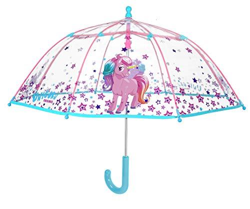 PERLETTI Paraguas Unisex 42cm Manual Transparente Unicornio de \'Cool Kids\' Paraguas Clásico, 80 cm, Multicolor