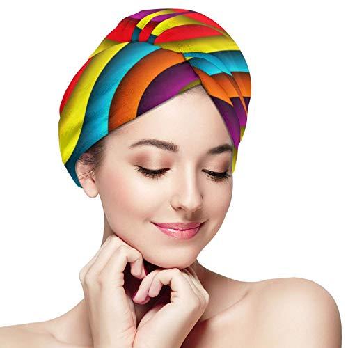 Toalla de secado rápido para el cabello, turbante de cabeza súper absorbente de microfibra ondulada colorida para ducha, spa, sauna, playa, gimnasio