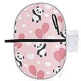 Netter Panda, der mit rosa Ballon-Baby-Wickelauflage-Wickelauflage-beweglicher 27x10 Zoll-wasserdichter faltbarer Matten-Baby-beweglicher Wickelstation-Wickelauflage-Matte fliegt