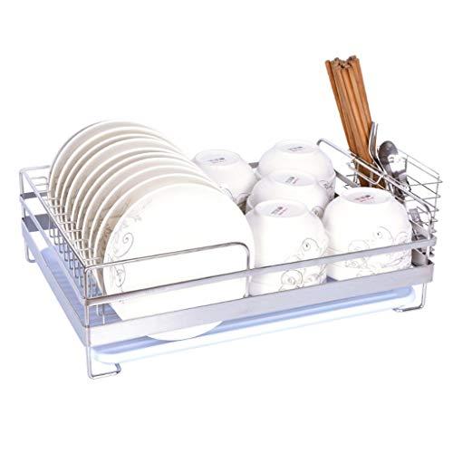 Égouttoir à vaisselle Acier inoxydable Rack égouttoir de cuisine en acier inoxydable 304, étagère de rangement, grille de séchage de la vaisselle, grille de cuisine avec cage et plateau à baguettes (4