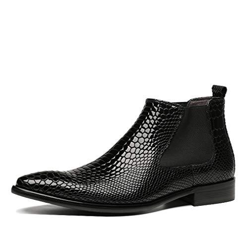 Dilize Chelsea Boots für Herren mit Schlangenleder-Aufdruck, Leder, Schwarz - Schwarz - Größe: 39 2/3 EU