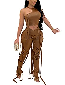 WOKANSE Women s Sexy 2 Piece Outfits Clubwear Irregular Sleeveless Crop Tops Bodycon Strappy Pants Sets Tracksuit Brown S