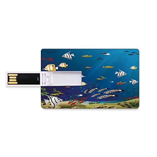16GB USB-Flash-Thumb-Laufwerke Aquarium Bank Kreditkarte Form Business Key U Disk Memory Stick Speicher Viele verschiedenen Fische am Grund des Ozeans Deep Water Sealife Cartoon Nature,Multicolor Pers