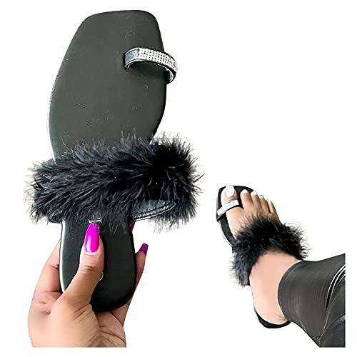 Aniywn Women's Bohemia Rhinestone Toe Ring Sandals/Slippers Summer Faux Fur Flip Flops Beach Shoes Slip On Flat Sandal Black
