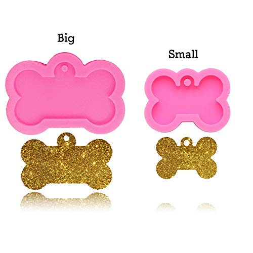 2pcs Creative Dog Bone Shaped Silicone Mold Key Chain Mould DIY Topper Decoration Non-stick Premium Cooker Accessories Baking Pan Ice Cream Tray for Homemade Chocolate Dessert Gummy Candy-Bone