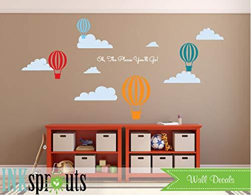 Hot Air Balloon Decal, Oh De Plaatsen Je gaat, Luchtballonnen Decal, Wolken, Klassiek, Eenvoudig, Moderne Kwekerij, Kwekerij Decals, Baby Decals, Makkelijk aan te brengen en Verwijderbaar