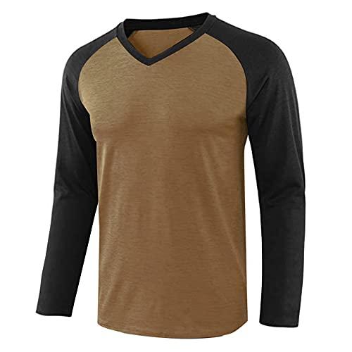 XVSSAA Men's Casual Long Sleeve Henley Shirt Raglan Fit Baseball T-Shirts Tee Lightweight Vintage Active Sports Shirt Khaki