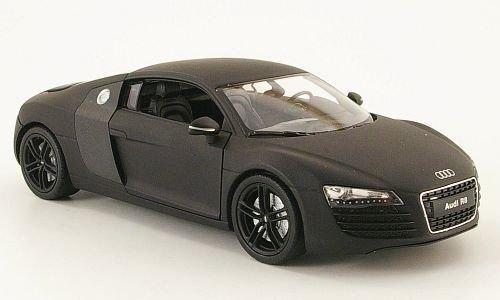 Audi R8, mattschwarz, Modellauto, Fertigmodell, Welly 1:24