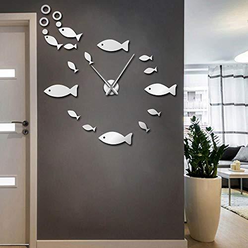 Wanduhr Fisch DIY Große Wanduhr Shoal of Fish Rahmenlose Riesenwanduhr 3D Big Mirror Wandaufkleber Modernes Design Uhr 47Inch Silber