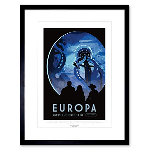 Wee Blue Coo NASA Poster Space TRAVEL Advert Europa 12x16 '' Framed Art Print F12X11825