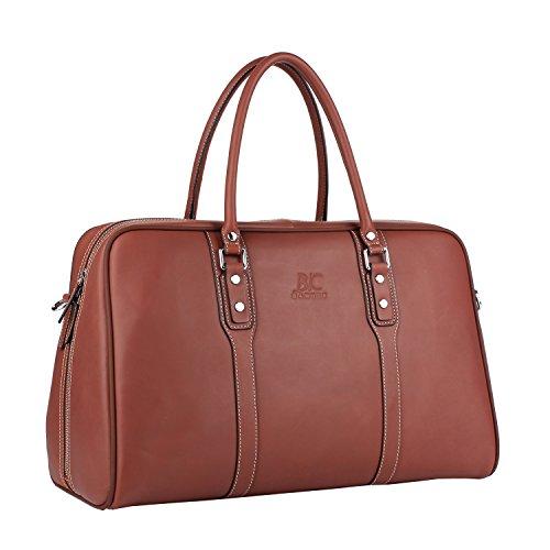 Banuce Vintage Genuine Leather Travel Duffels Bag for Men Tote Handbag Business 1-3 Days Overnight Weekend Shoulder Messenger Bag Wine Red