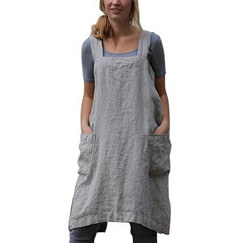 Delantales de lino de algodón de estilo japonés, vendaje cruzado de color sólido en forma de X,...