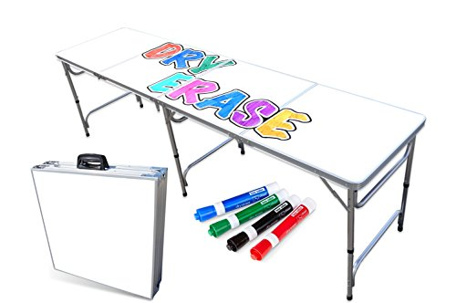 PartyPongTables.com Portable Folding Table w/ Surface & Markers for Art, Classroom, Parties, and More 4 ft or 8 ft