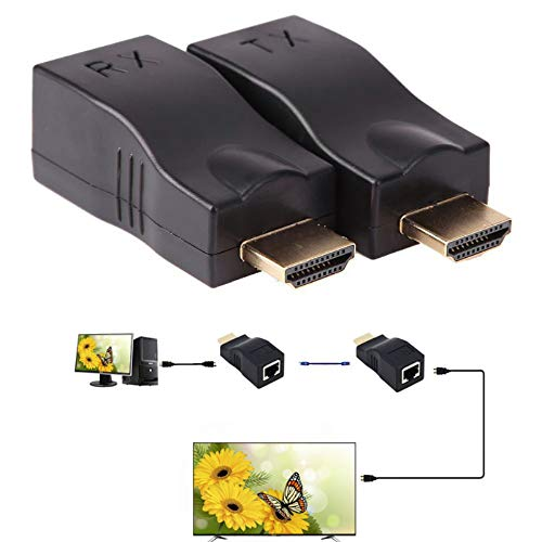 HDMI Extender Paddsun 1080P 30M HDMI to RJ45 Network Cable Extender Converter Adapter Support HDCP Over by Cat5-e/6 Cable Splitter Supports HDTV HDPC PS4 STB