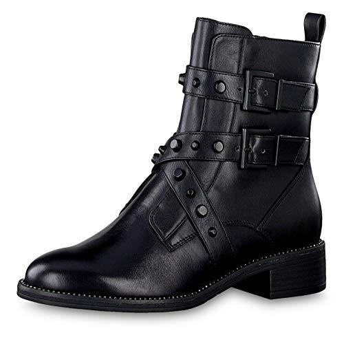 Tamaris Damen Stiefeletten 25415-23, Frauen Biker Boots, Woman Freizeit leger Stiefel Stiefelette halbstiefel Bootie Nieten,Black/Studs,38 EU / 5 UK