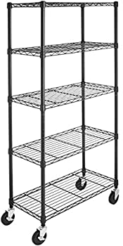 Amazon Basics 5-Shelf Shelving Storage Unit on 4   Wheel Casters Metal Organizer Wire Rack Black  30  L x 14  W x 64.75  H