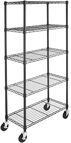AmazonBasics 5-Shelf Shelving Storage Unit on 4'' Wheel Casters, Metal Organizer Wire Rack, Black (30L x 14W x 64.75H)