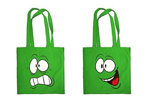 Sac shopping imprimé Funny Face 03 écologique sac de plage épaule Sac à main Multicolore vert moyen