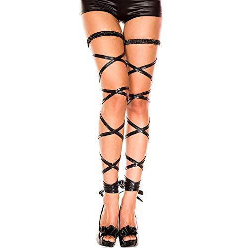 TSWRK Damen Strumpfband Sexy Bein Elastische Halterlose Wickel Strümpfe Punk Rock Gothic Wrap Set String