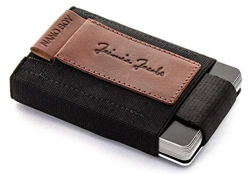 JAIMIE JACOBS Nano Boy Mini Wallet, Mini Geldbörse aus Textil, Kleiner Geldbeutel, Slim Wallet mit Zugband Kartenhalter, Mini-Portmonee, Kartenetui für Herren und Damen (Dunkelbraun)