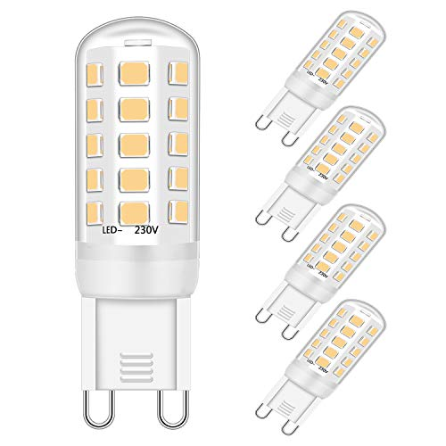 LED G9 Bombillas Regulable Blanco natural 3W Bulbo Equivalente a 25W 28W 33W Halógeno Lámpara, 385LM, 4000K, CA 220-240V, sin parpadeo, G9 Enchufe Techo Luces Bombillas, paquete de 5