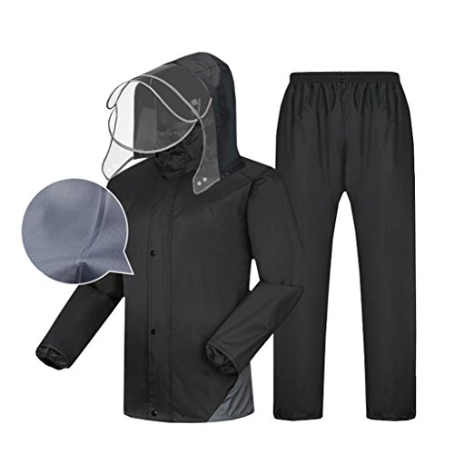 Zfggd Männer Regenmantel Anzug Wasserdichte Jacke Und Hose Set Mit Kapuze Regenbekleidung Outdoor Work Motorrad Golf Angeln Schwarz (Color : B, Size : XXXXL)