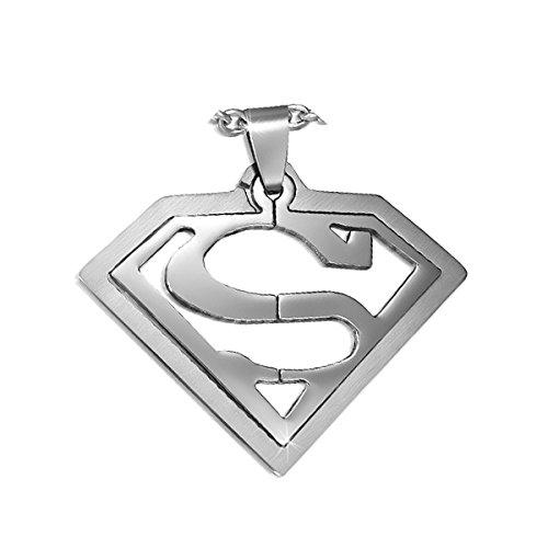 Juwelier Schönschmied - Unisex großer Superman Anhänger aus Edelstahl mit Kette AH57 - Super_L
