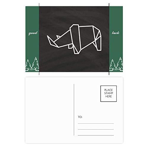 Abstrakte Origami-Nashorn, geometrische Form, Glücksbringer, Postkarten-Set, Karten, Postkarten, 20 Stück