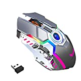 Wireless Mouse Gaming, Pmallcity Rechargeable Computer Gaming Mouse with LED RGB Backlit Lights and 3 Adjustable DPI, Power Saving Mode Wireless Mouse for Computer/Laptop/Mac/PC (Grey)