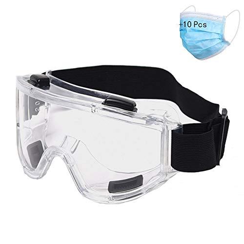 SEGIBUY Veiligheidsbril, bril persoonlijke veiligheidsuitrusting, transparante veiligheidsbril over bril voor werk, bouw, thuiswerk, laboratorium, chemie, outdoor-sport