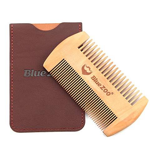 GUYUE Kleine Bartkamm Anti-Static-Geschenk-Reise-Set Verwenden Holzdoppelseitige Hair Tools Frauen erforderlich sind Doppelledertasche (Color : Pearwood Brown)