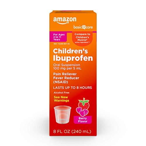 Amazon Basic Care Children's Ibuprofen Oral Suspension 100 mg per 5 mL (NSAID), Orange Berry, 8 Fl Oz