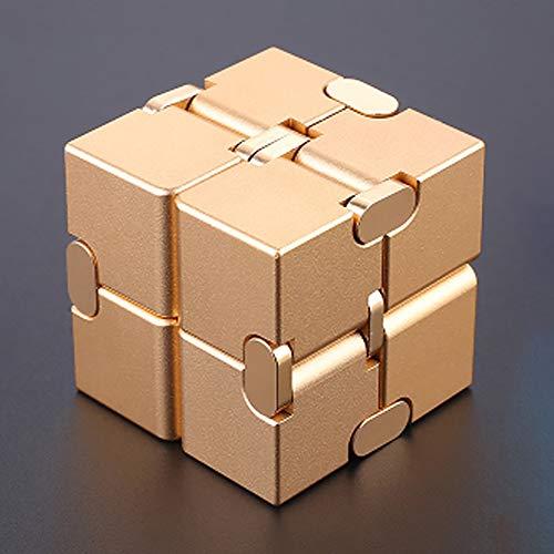JW-YZ Infinity Cube Schreibtisch Spielzeug, Premium-Qualität aus Aluminium Infinite Magic Cube mit Exklusiv-Fall, Robuste, Schwer, Stress und Angst, für ADD, ADHD, OCD,J