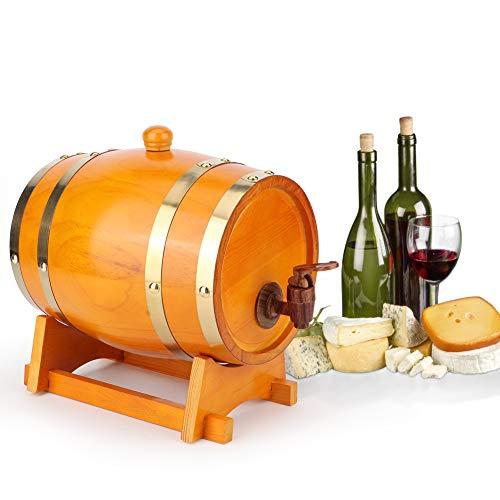 Eurobuy Barril de Vino 3L Equipo de Elaboración Casera Accesorios de Elaboración de Cerveza para Vino Tinto Brandy Whisky Tequila