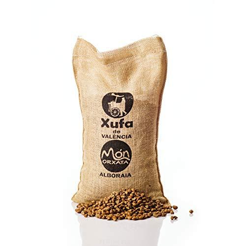 Saco yute 5kg Chufa ecológica BIO D.O. València - Món Orxata. No seleccionada. Ideal para consumo en crudo o para elaboración de horchata. Conservar a menos de 15º.