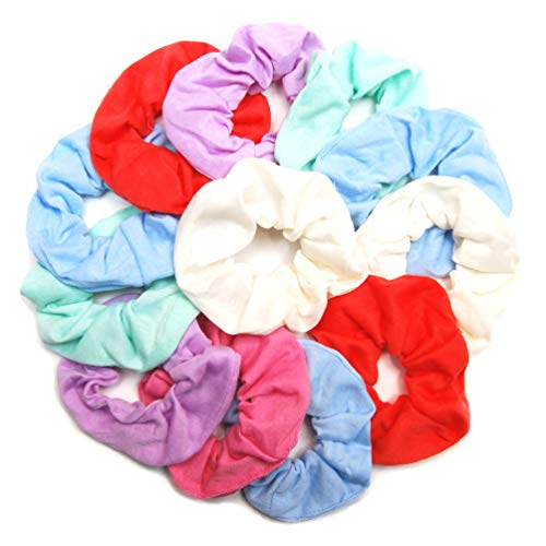 Luxxii Fancy Pastel Colorful Cotton Scrunchies Ponytail Holder Elastic Hair Bands 4 inch (Pastel Scrunchies, 12 Count)