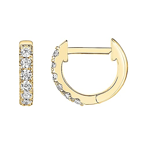 PAVOI 14K Yellow Gold Plated Post Cubic Zirconia Cuff Earring Huggie Stud