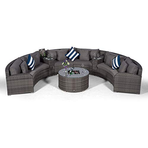 Riviera 6 Seat Grey Rattan effect Garden Furniture Set + Coffee Table Ice Cooler + 2 Ice Bucket Armrest + Outdoor Furniture Covers | 9pc Round Rattan Sofa Set | Rattan Patio Conservatory Furniture